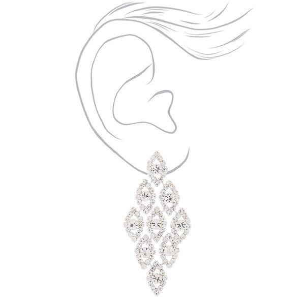 """Claire's - glass rhinestone 2.5"""" chandelier earrings - 2"""