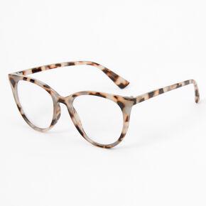 Gray and Brown Tortoiseshell Cat Eye Clear Lens Frames,