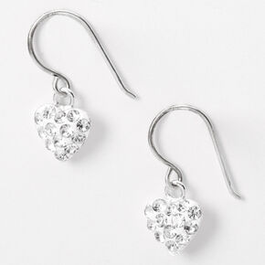 "Sterling Silver .5"" Embellished Heart Drop Earrings,"