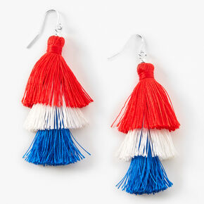 Red, White, And Blue Tassel Drop Earrings,
