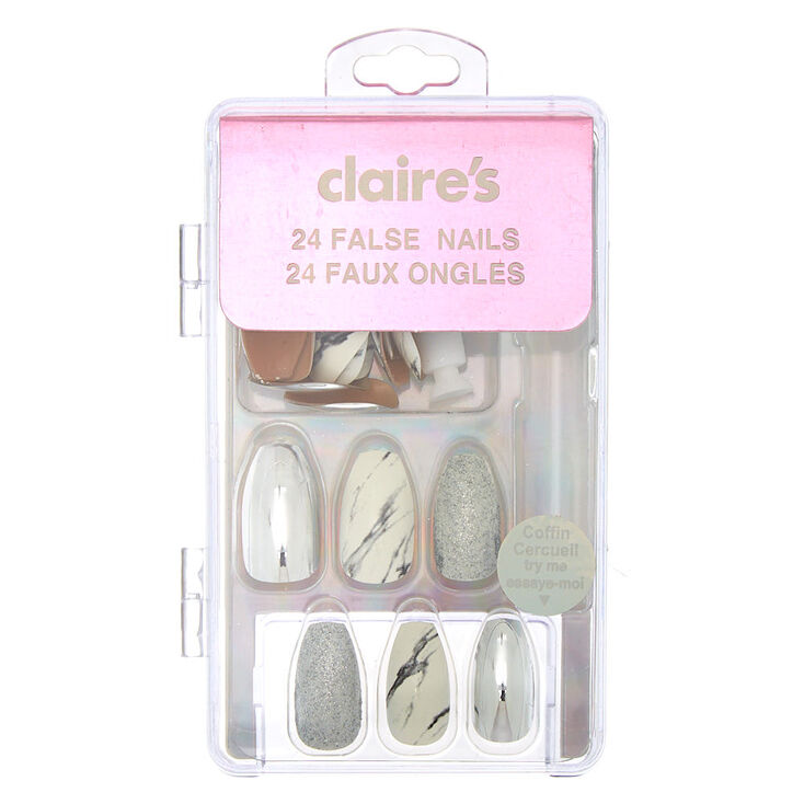 Mixed Marble Coffin Faux Nail Set - Silver, 24 Pack,