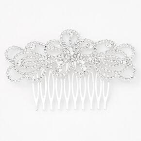 Silver Rhinestone Spiral Floral Hair Comb,