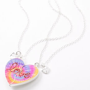 Best Friends Love Tie Dye Heart Pendant Necklaces - 2 Pack,