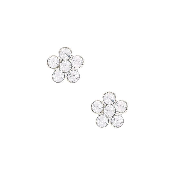 Sterling Silver Clear Flower Stone Stud Earrings,