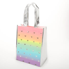 Rainbow Hearts Reusable Tote Bag,