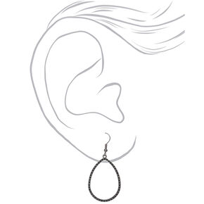 "Hematite 1.5"" Teardrop Drop Earrings,"