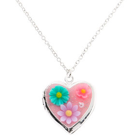 Silver Flower Heart Locket Pendant Necklace - Pink,