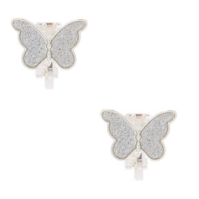Silver Butterfly Clip On Stud Earrings,