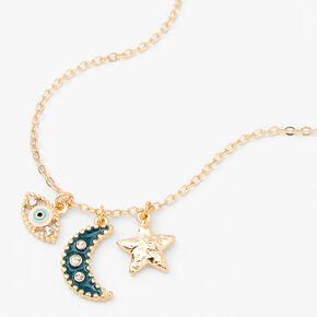 Gold Mystical Motif Pendant Necklace - Teal,