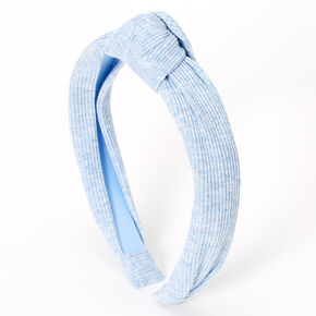 Ribbed Knotted Headband - Light Blue,