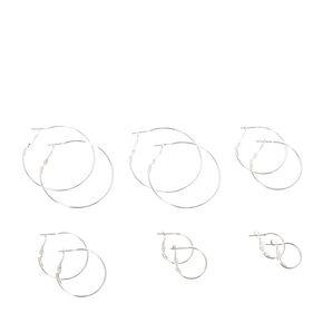 Silver Graduated Hoop Earrings - 6 Pack,