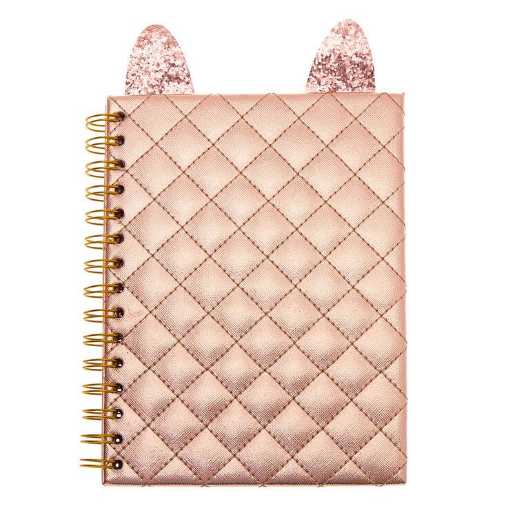 Cat Metallic Notebook - Rose Gold,