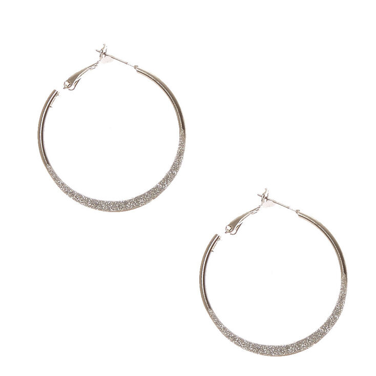 Silver 30mm Glitter Knife Edge Hoop Earrings