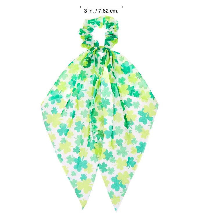 Small Shamrock Hair Scrunchie Scarf - Green,