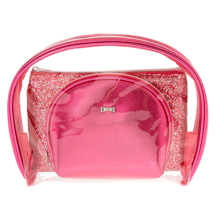 Pink Glitter Makeup Bag Set