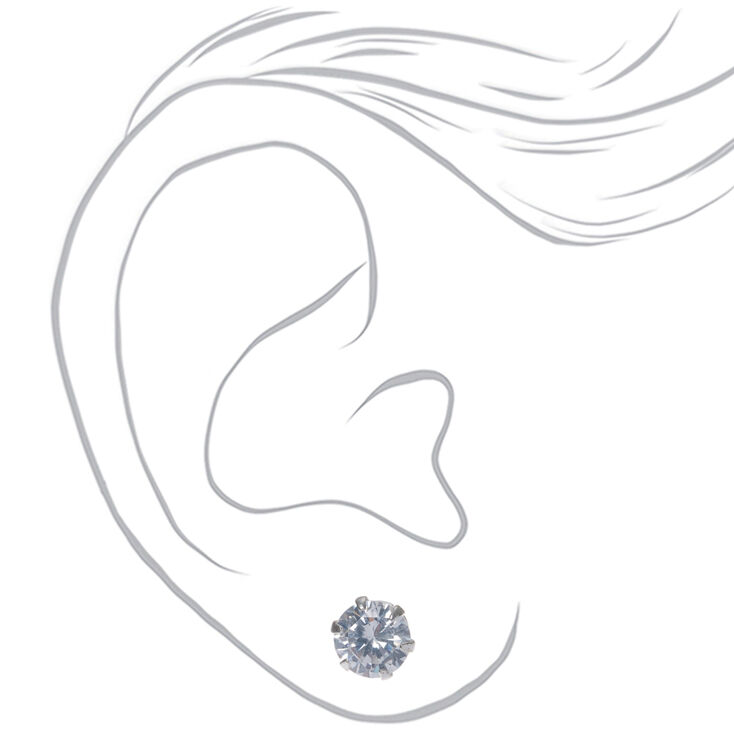 Sterling Silver Cubic Zirconia Round Stud Earrings - 6MM,