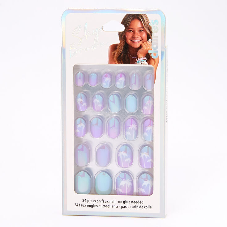 Sky Brown™ Palm Tree Stiletto Faux Nails – Purple, 24 Pack,