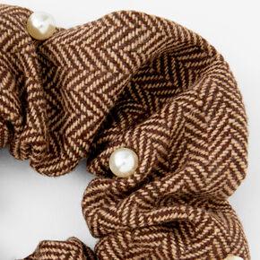 Giant Tweed Pearl Hair Scrunchie - Brown,