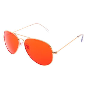 Red Tinted Aviator Sunglasses - Gold,