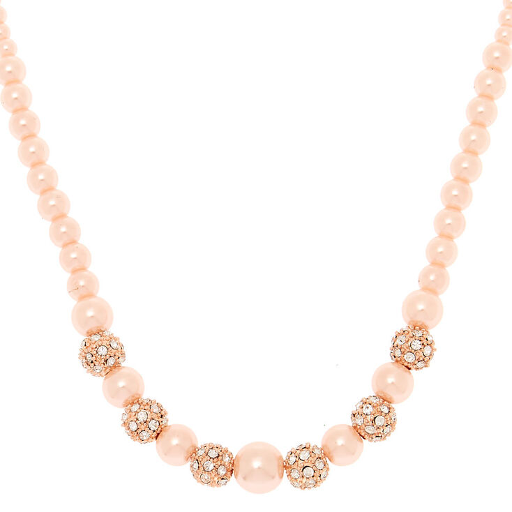 Rose Gold Fireball Pearl Statement Necklace,
