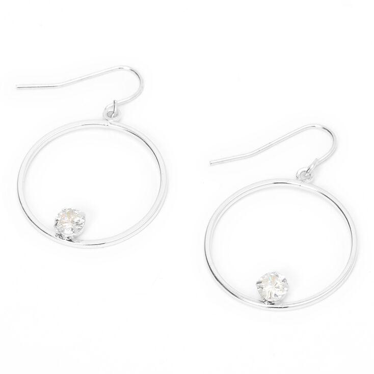 Silver 25MM Cubic Zirconia Stone Hoop Earrings,
