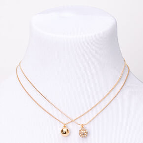 Gold Sleek Fireball Pendant Necklaces - 2 Pack,