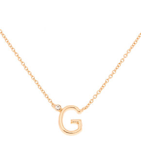 Gold Stone Initial Pendant Necklace - G,