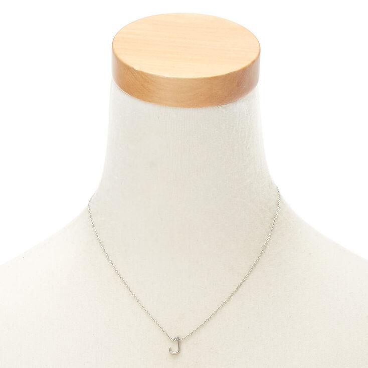 Collier à pendentif initiale avec strass couleur argentée - J,