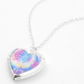 Collier à pendentif avec médaillon en forme de cœur tie-dye couleur argentée,