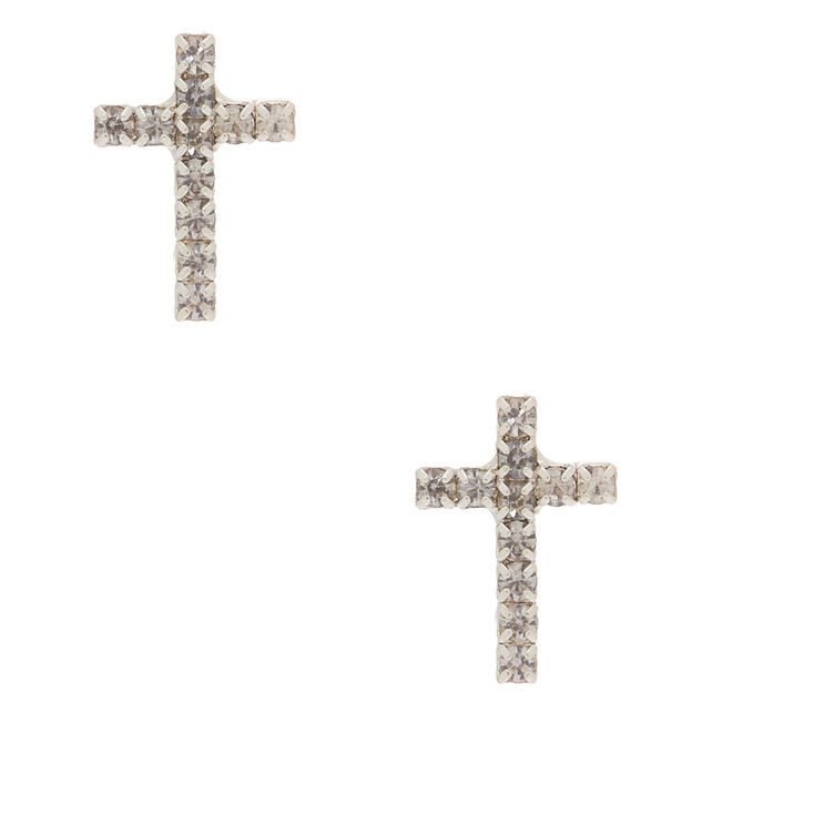 Silver Crystal Cross Stud Earrings,