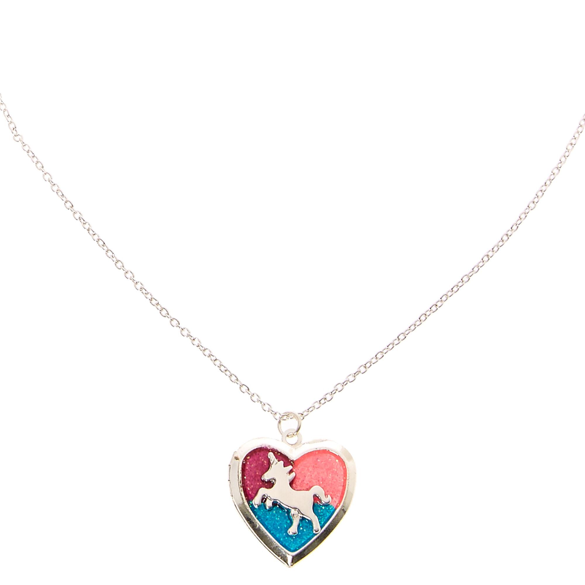 Glitter unicorn heart locket silver tone necklace claires us glitter unicorn heart locket silver tone necklace aloadofball Choice Image