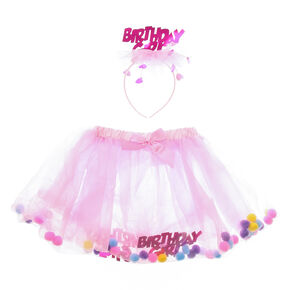 0b1ae6f670 Claire's Club Birthday Girl Tutu & Headband - Pink, 2 Pack