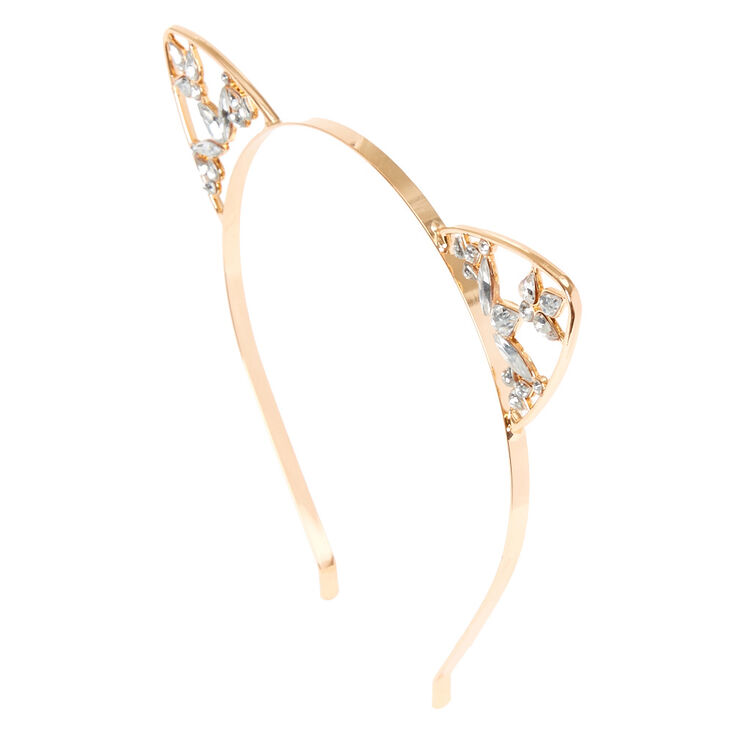ea84f3179 Rose Gold Crystal Cat Ear Headband | Claire's US