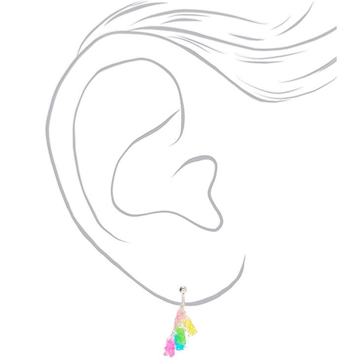 """1"""" Rainbow Gummy Bear Clip On Drop Earrings,"""