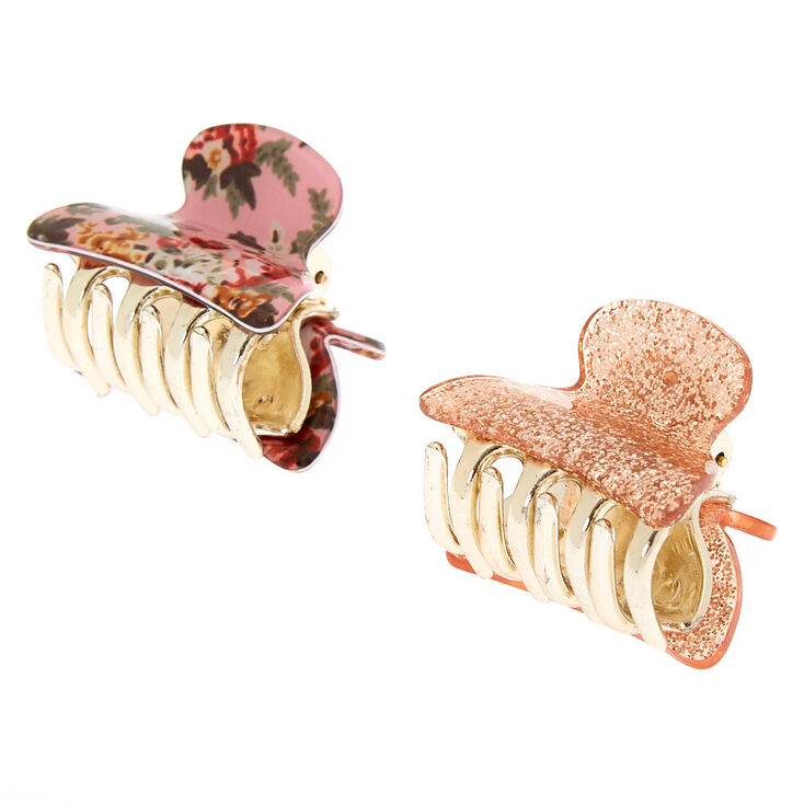 Floral Glitter Mini Hair Claws - Pink, 2 Pack,