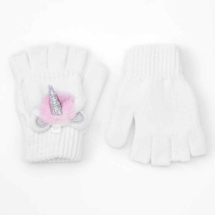 Pastel Unicorn Fingerless Gloves With Mitten Flap - White,