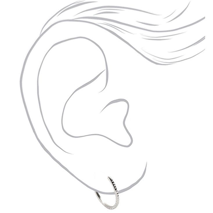 Sterling Silver 14MM Textured Hoop Earrings - 3 Pack,