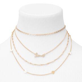 Gold Eternity Love Multi Strand Necklace,