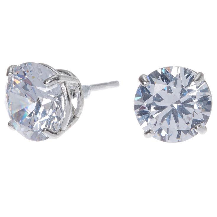Sterling Silver Cubic Zirconia Round Stud Earrings - 8MM,