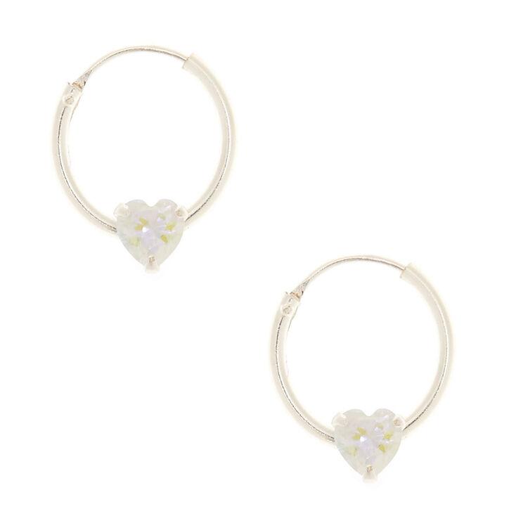 12MM Sterling Silver Cubic Zirconia Heart Hoop Earrings,