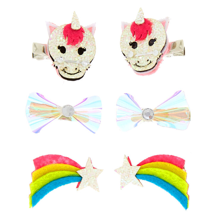 Claire's Club Unicorn Hair Clips - 6 Pack,
