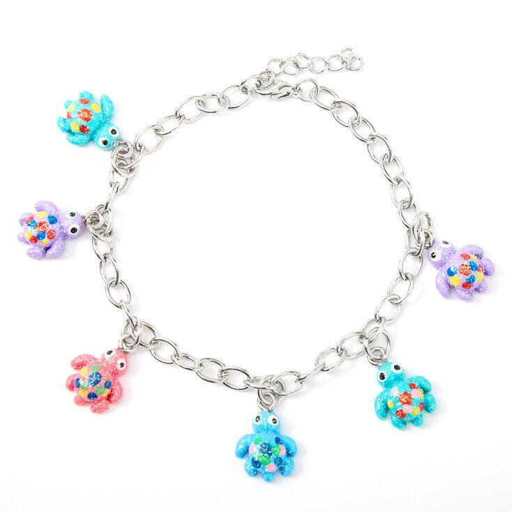 Silver Glitter Turtle Charm Bracelet,