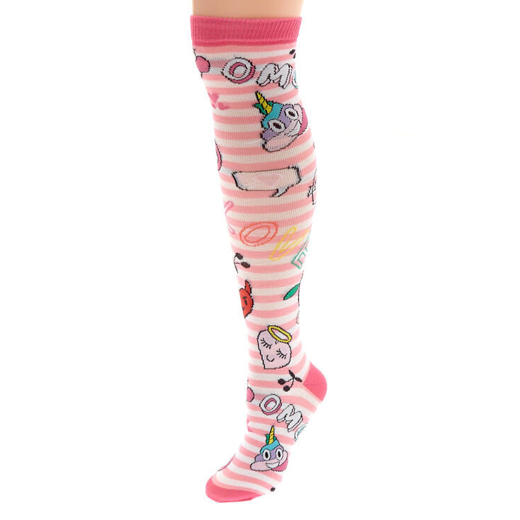 f6329f2ed Emoji Knee High Socks - Pink   Claire's US