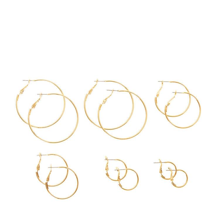 e2778dcb2240c Graduated Thin Gold Hoop Earrings