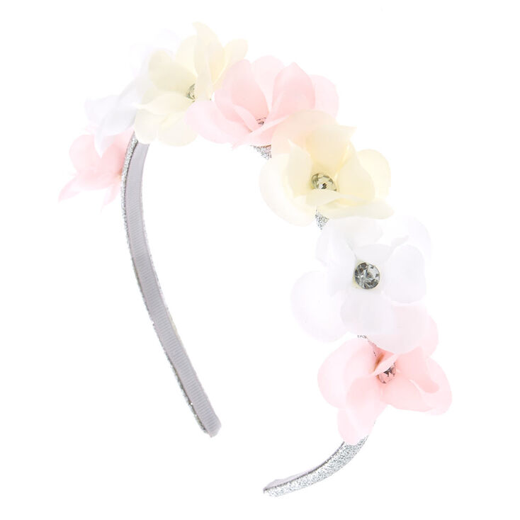 Claire  39 s Club Flower Girl Silver Glitter Floral Headband 3dc80fba400