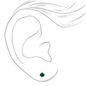 Clous d'oreilles strass rouges et verts couleur argentée - Lot de 3,