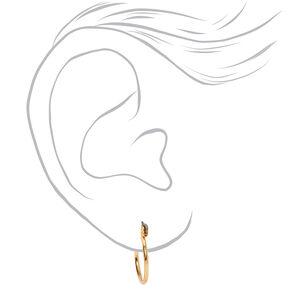 Gold Graduated Textured Hinge Hoop Earrings - 3 Pack,