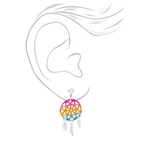 "Silver 1.5"" Rainbow Dreamcatcher Clip On Drop Earrings,"