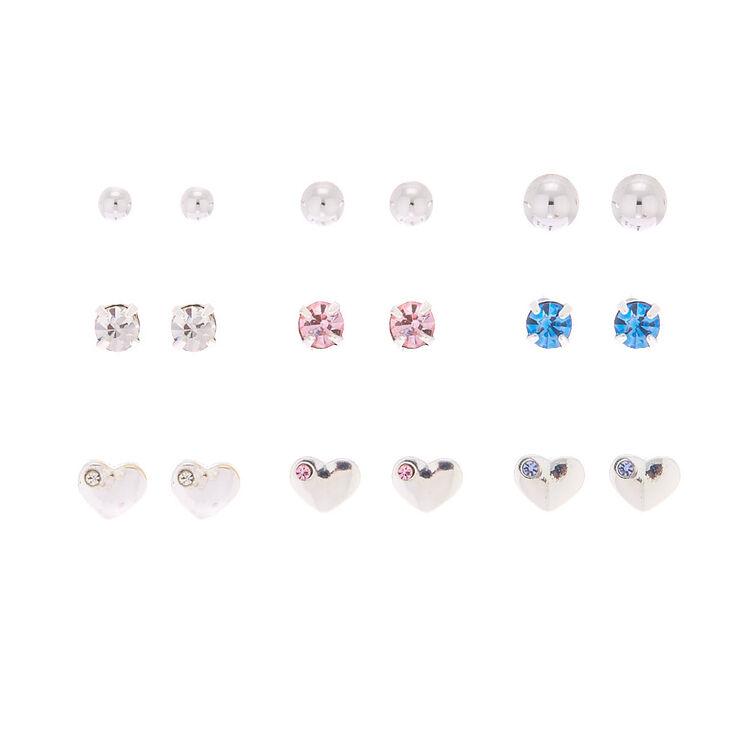 Silver Heart Stud Earrings - 9 Pack,