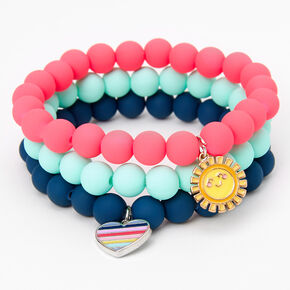 Claire's Club Heart & Sun Matte Beaded Stretch Bracelets - 3 Pack,